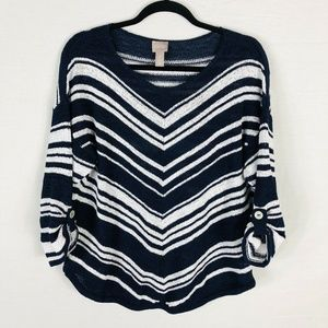 Chico's Size XL 16 3 Open Knit Striped Sweater